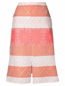 Julien David patterned A-line skirt - White