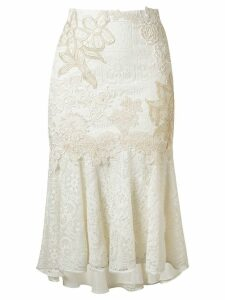 Martha Medeiros embroidered lace mix midi skirt - White