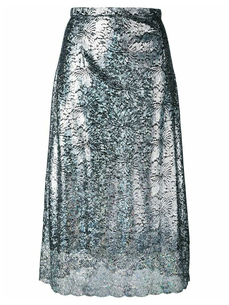 Christopher Kane lace foil midi skirt - Metallic