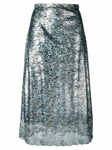 Christopher Kane lace foil midi skirt - Metallic