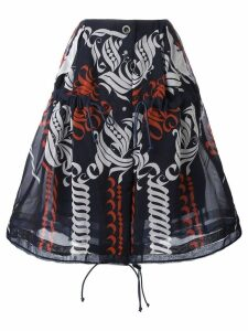Sacai calligraphy print drawstring skirt - Blue
