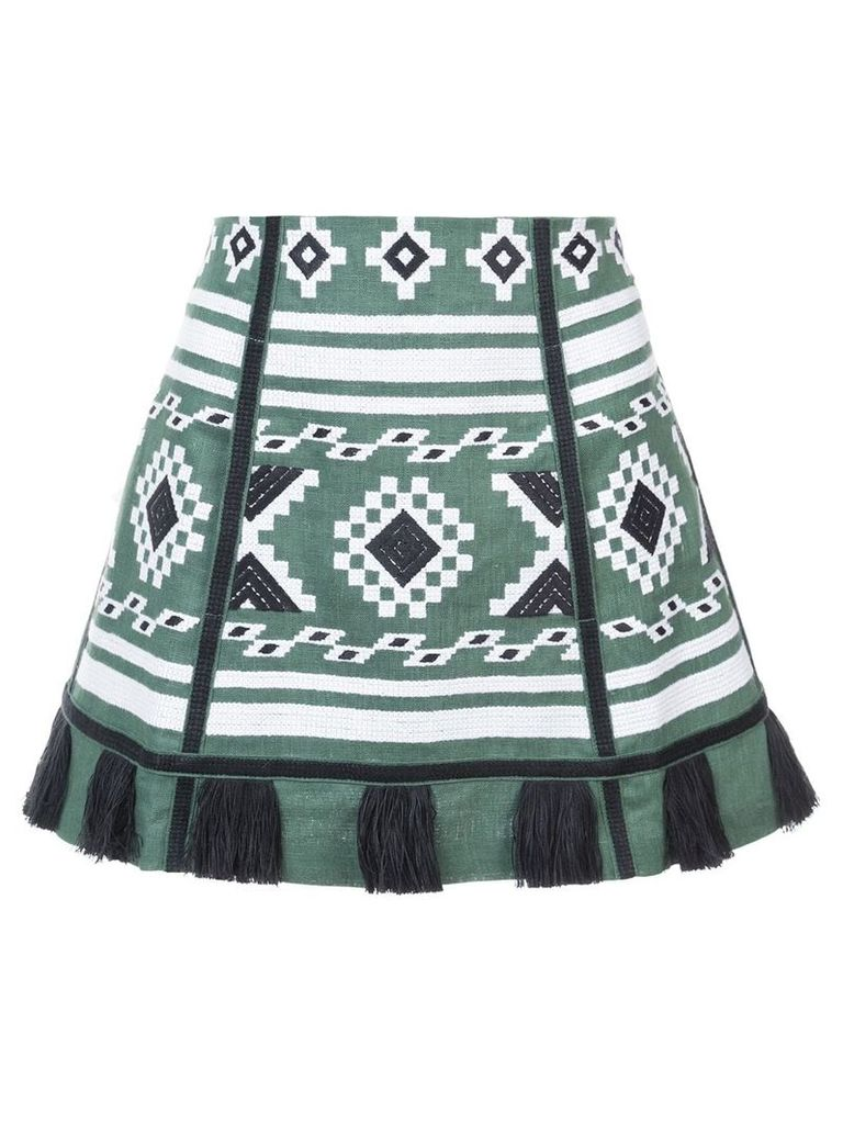 Vita Kin embroidered tassel skirt - Green