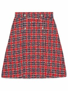 Gucci Tweed check A-line skirt - Red