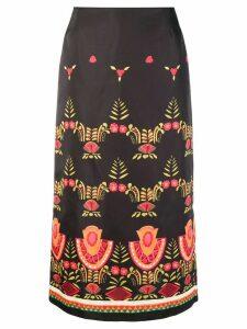 La Doublej Mexican print midi skirt - Black