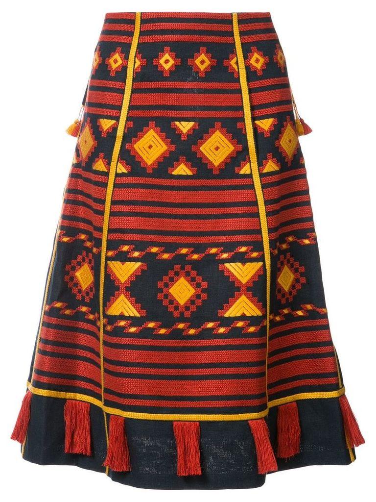 Vita Kin 'Croatia' embroidered midi skirt - Blue