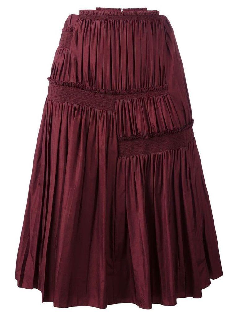 Nina Ricci pleated A-line skirt - Red