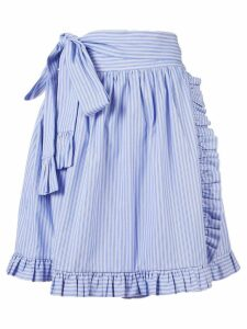 Stella McCartney striped ruffle-trimmed skirt - Blue