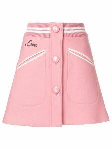 Miu Miu rib trim button front mini skirt - Pink