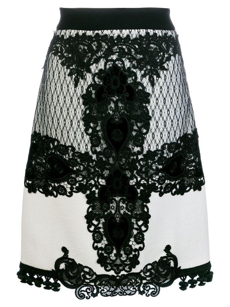 Fausto Puglisi lace embroidered midi skirt - White