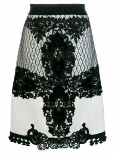 Fausto Puglisi lace embroidered midi skirt - White