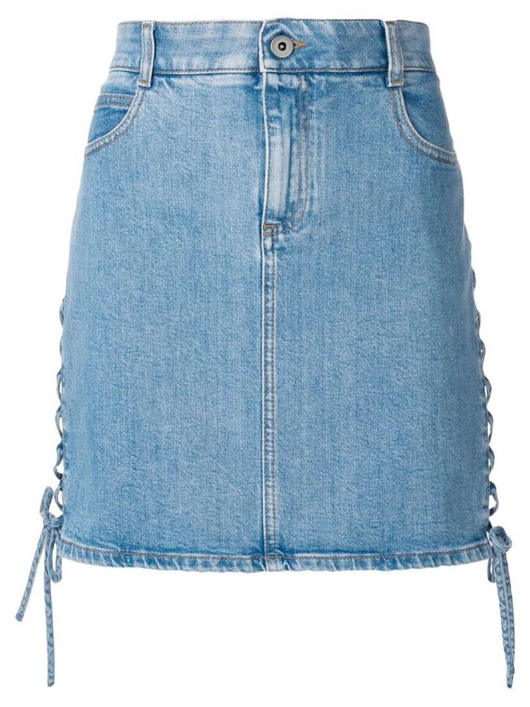 Stella McCartney side lace-up denim skirt - Blue