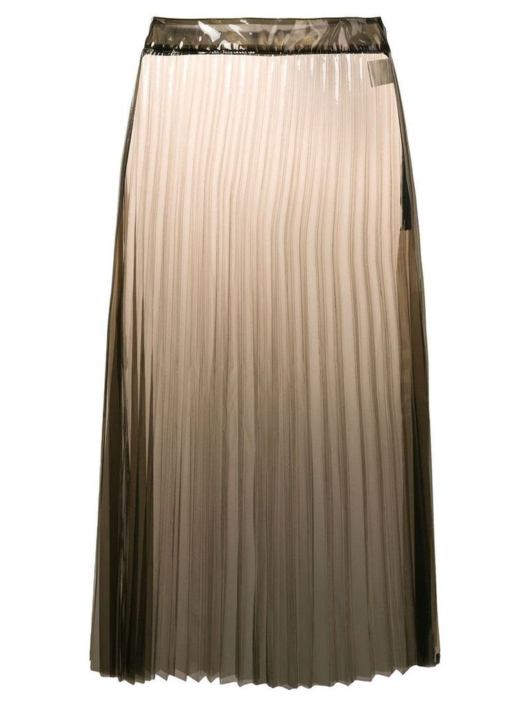 Ssheena clear pleated PU midi skirt - Black