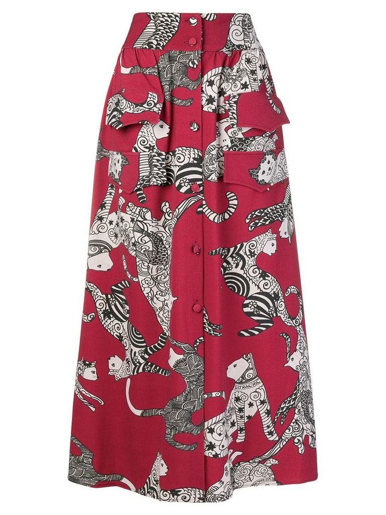 Ultràchic cat print skirt - Red