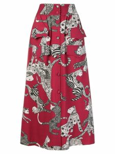 Ultràchic cat print skirt - Red