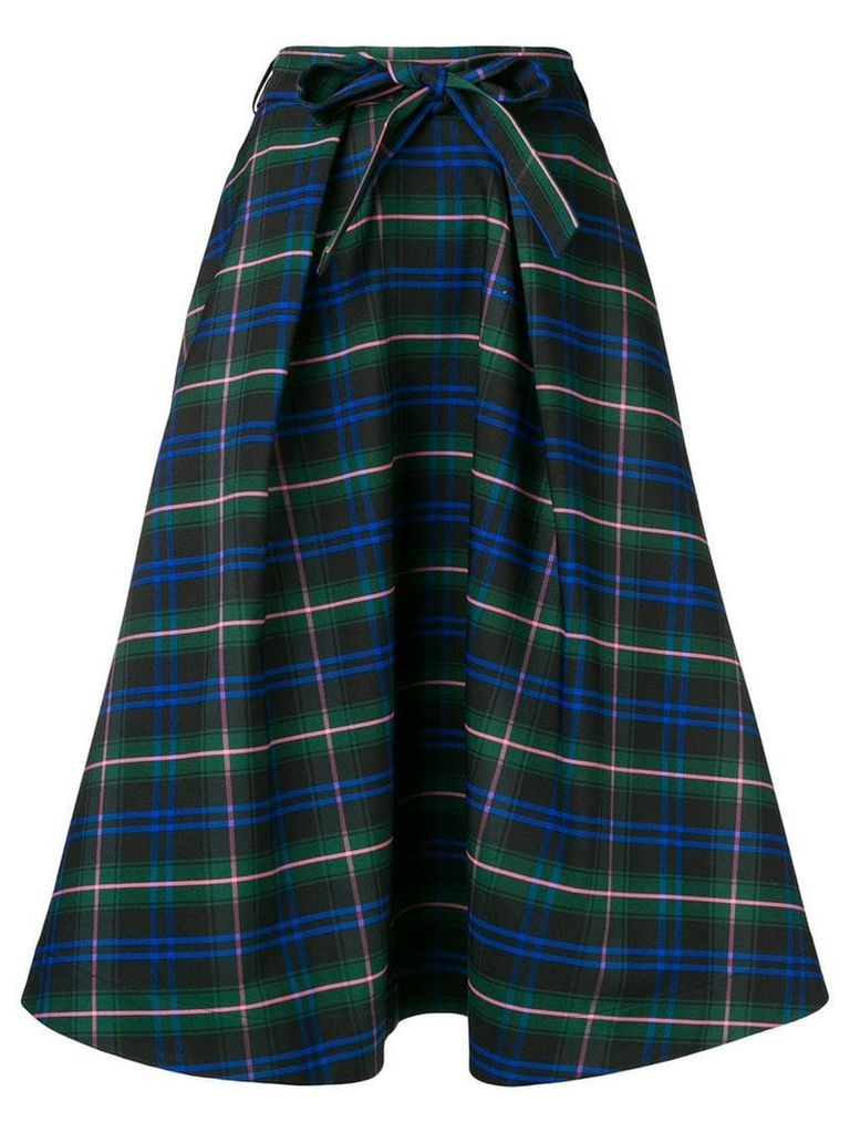 MSGM check flared skirt - Green