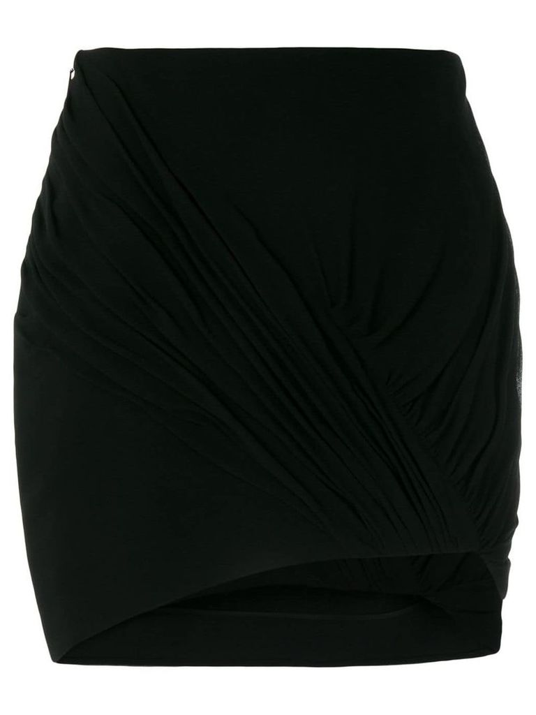 Saint Laurent ruched asymmetrical skirt - Black