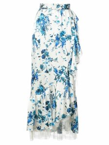 Adam Lippes floral-print lace-trimmed ruffled midi skirt - White