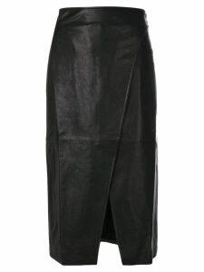 Lamberto Losani textured skirt with slit - Black