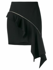 Saint Laurent zip asymmetric ruffle skirt - Black