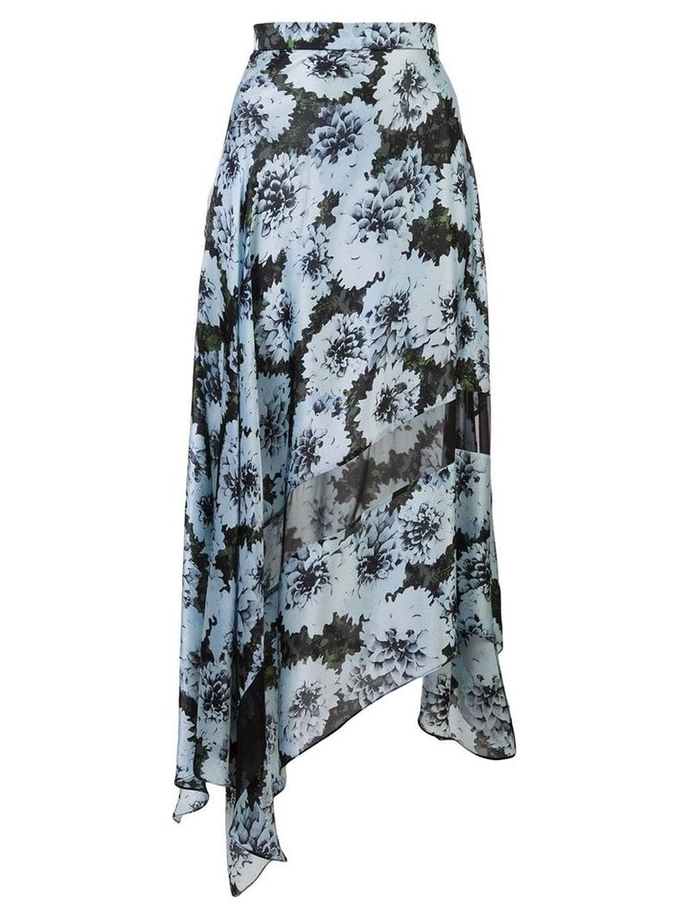 Fleur Du Mal floral print asymmetric skirt - Blue