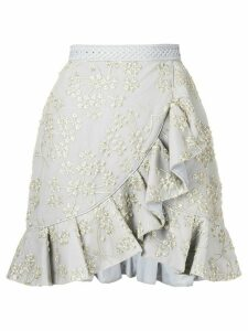 Self-Portrait asymmetric frill skirt - Grey