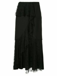Goen.J asymmetric lace paneled skirt - Black