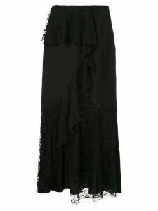 Goen.J asymmetric lace paneled skirt - Black