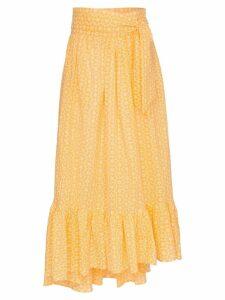Lisa Marie Fernandez nicole floral tie waist skirt - Yellow