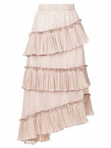 Lorena Antoniazzi striped asymmetric frill trim midi skirt - Neutrals