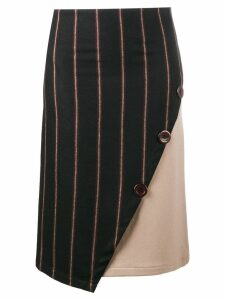 Jour/Né stripe straight asymmetric skirt - Black