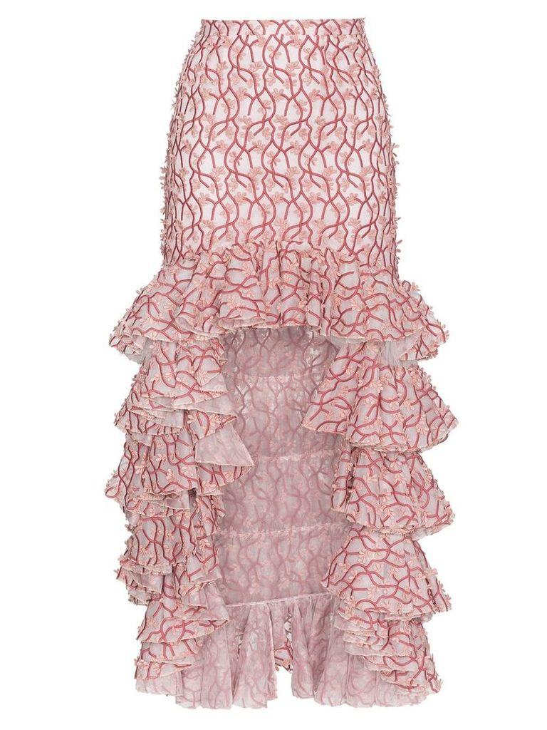 Giambattista Valli Floral ruffle asymmetric skirt - Pink