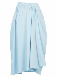 Jil Sander asymmetric gathered detail skirt - Blue