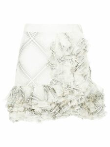 Giambattista Valli flamenco-style short ruffle skirt - White
