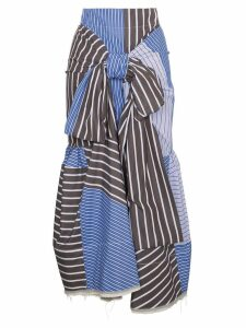 Marni multi striped tie front skirt - Blue