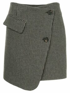 Goen.J houndstooth asymmetric wrap skirt - Grey
