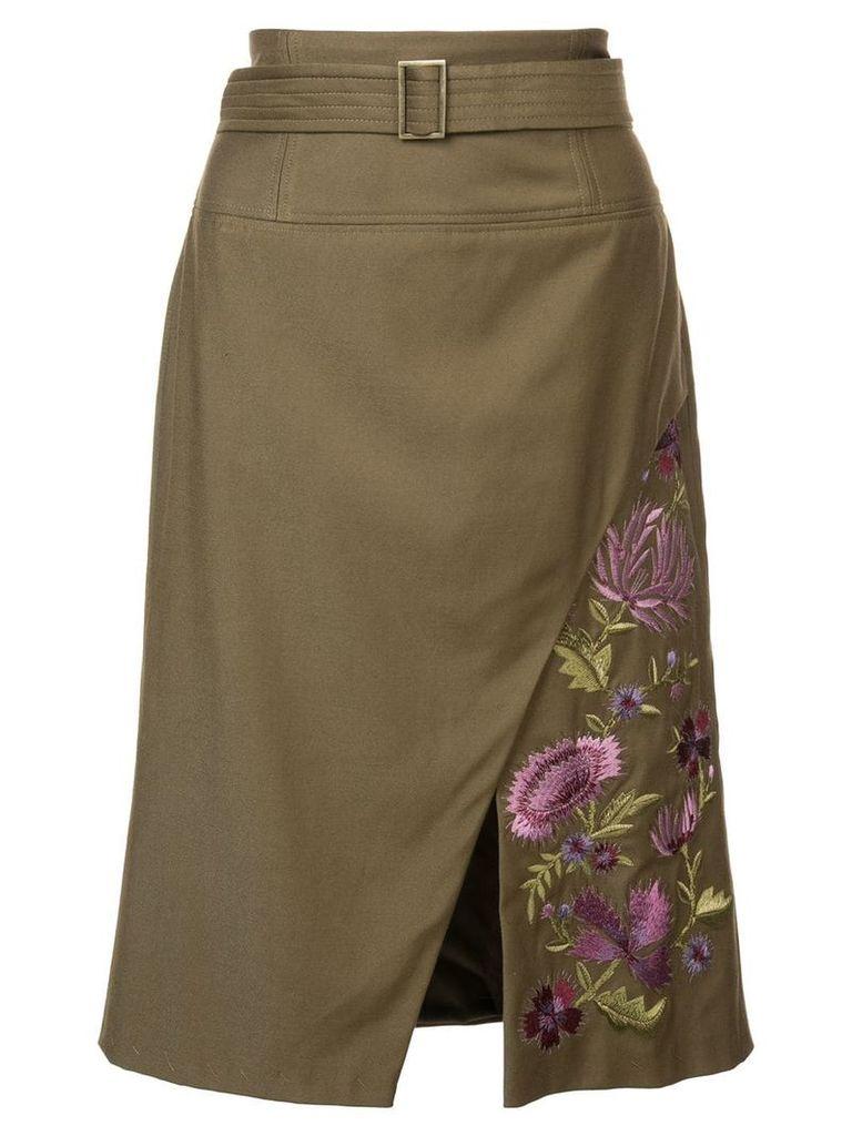 Josie Natori embroidered twill slit skirt - Green