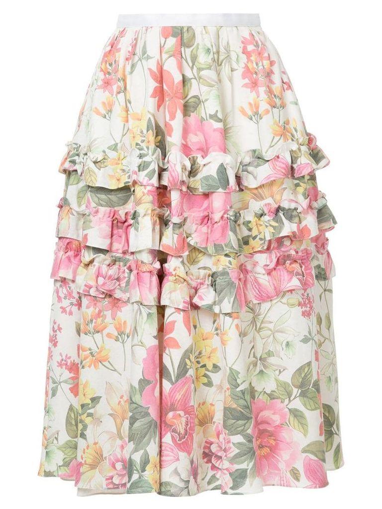 Bambah lotus print skirt - White