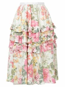 Bambah lotus print skirt - White