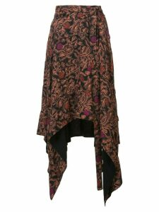Proenza Schouler Paisley Floral Asymmetrical Skirt - Black