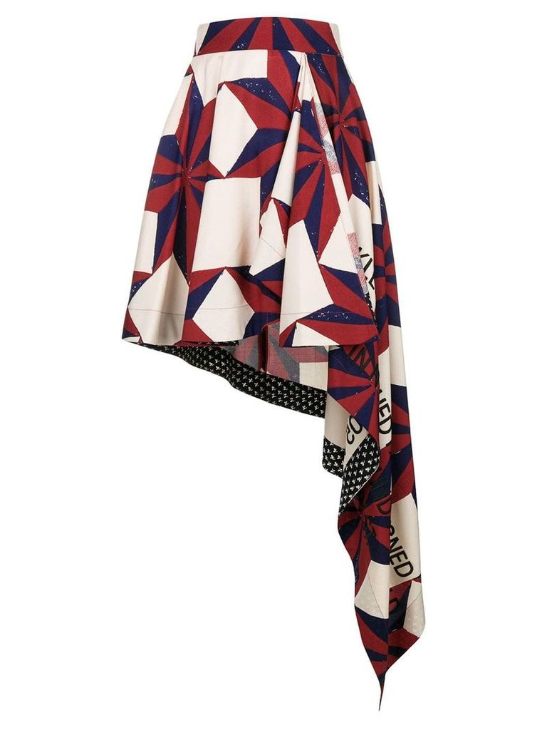 Calvin Klein 205W39nyc mixed-print asymmetric skirt - Red