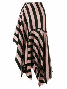 Marques'Almeida asymmetrical striped skirt - Pink