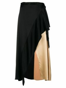 Ssheena bicolour asymmetric skirt - Black