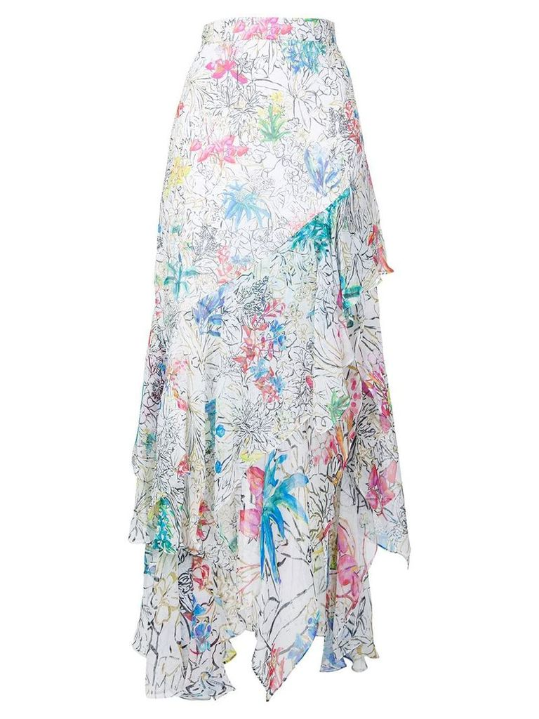 Peter Pilotto floral print ruffled skirt - White
