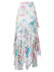 Peter Pilotto floral print ruffled skirt - White