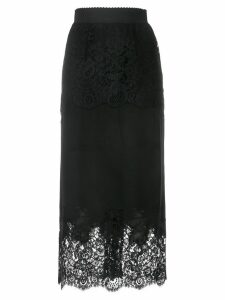 Dolce & Gabbana floral pattern fitted skirt - Black