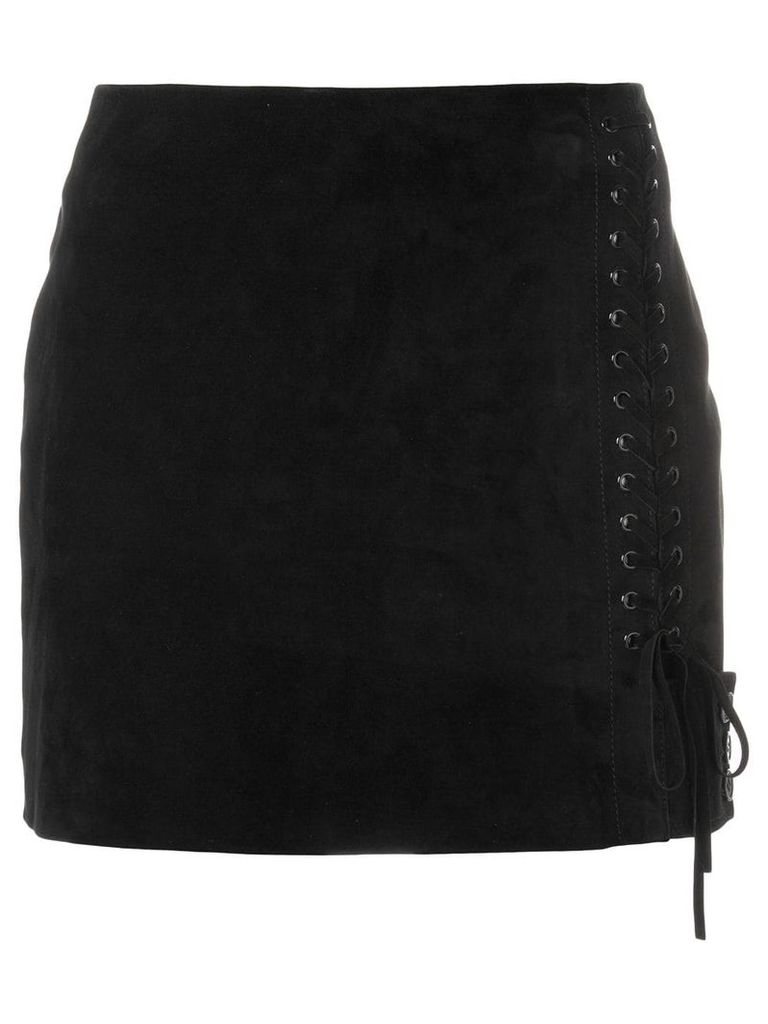 Saint Laurent side lace-fastened fitted skirt - Black