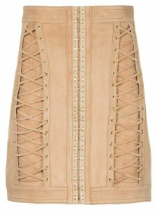 Balmain lace-up mini skirt - Brown