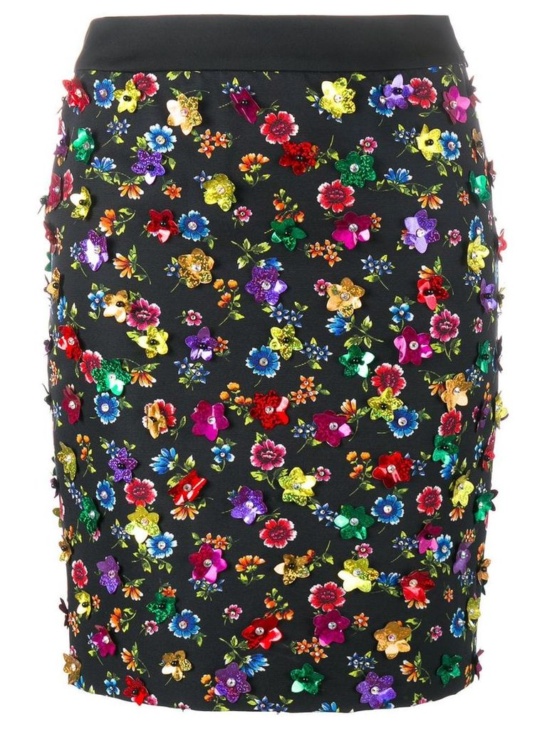 Moschino floral embellished skirt - Black