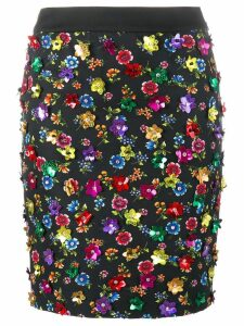 Moschino floral embellished skirt - Black