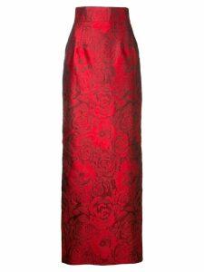 Bambah Rose Jacquard Pencil skirt - Red